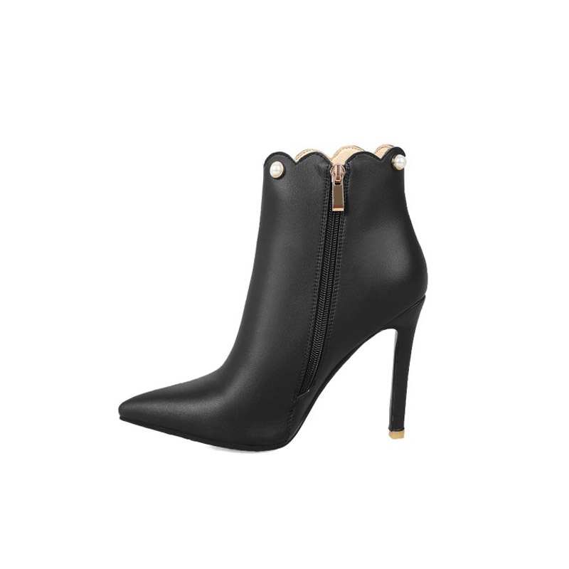 Ericdress Beads Side Zipper Pointed Toe Stiletto Heel Ankle Boots