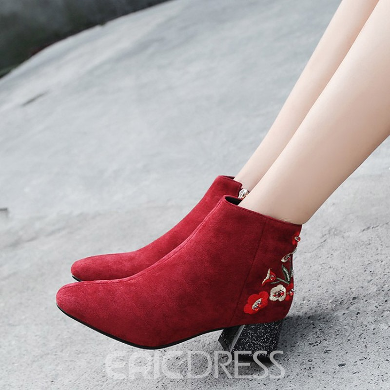 Ericdress Embroidery Floral Round Toe Chunky Heel Ankle Boots