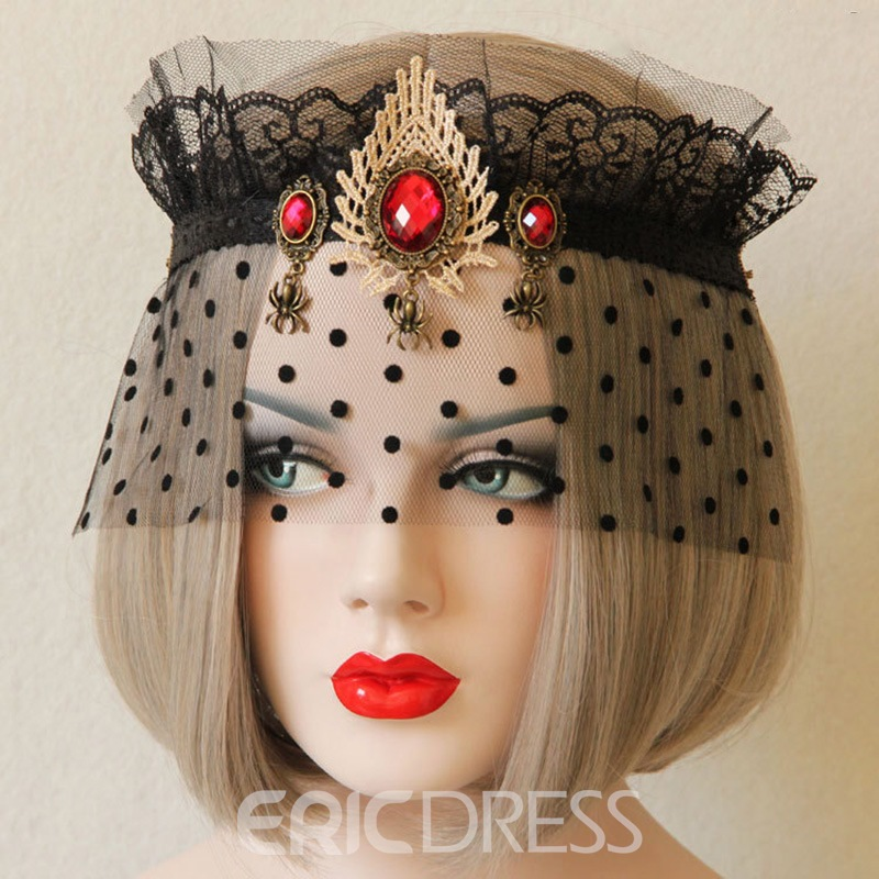 ericdress halloween dot diamante lace queen máscara