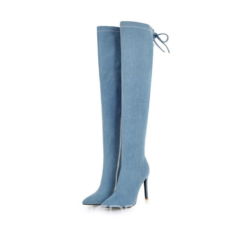 Ericdress Denim Side Zipper Stiletto Heel Women's Over The Knee Boots