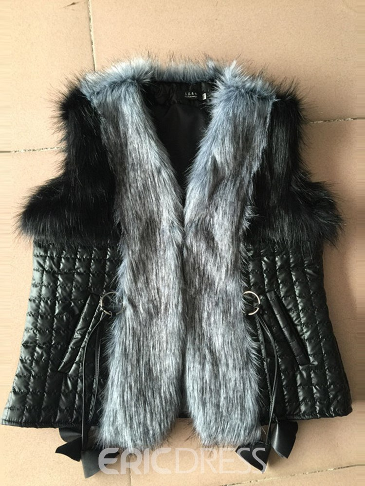 Ericdress I Type Patchwork Faux Fur Standard Coat