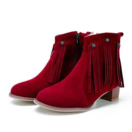 Ericdress Fringe Round Toe Side Zipper Chunky Heel Ankle Boots