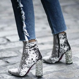 Ericdress Sequin Suede Pointed Toe Chunky Heel Ankle Boots