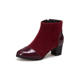 Ericdress Patchwork Side Zipper Chunky Heel Ankle Boots