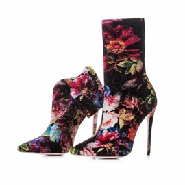 Ericdress Floral Pointed Toe Stiletto Heel Women's Boots