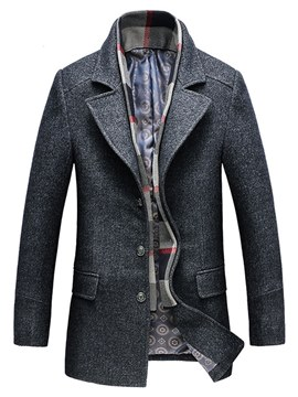 Ericdress Plain Lapel Mens Mid-Length Winter Wool Coats
