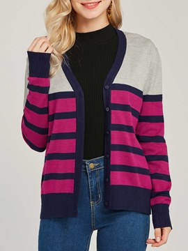 Ericdress Color Block Single-Breasted V-Neck Cardigan