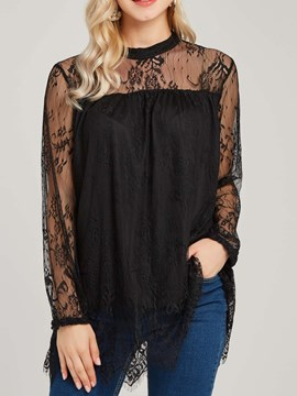 Ericdress Pullover Scoop Lace Flora Patchwork Lace Blouse