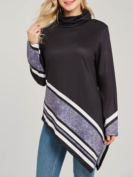 Ericdress Stripe Color Block High Neck Asymmetric Mid-Length Cool Hoodie