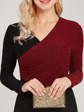 Ericdress Color Block V-Neck Patchwork Long Sleeves T-shirt