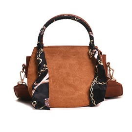 Ericdress Plain PU Thread Saddle Tote Bags Scarf