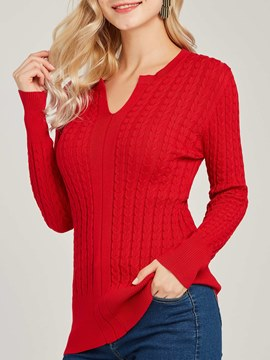 Ericdress V-Neck Plain Casual Long Sleeves Knitwear