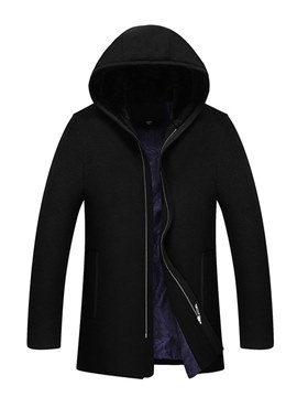 Ericdress Plain Hooded Zipper Mens Wool Coats