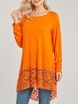Ericdress Pullover Mid-Lengt Plain Lace Cool Hoodie