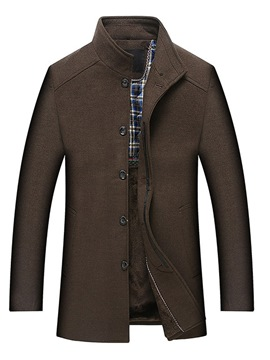 Ericdress Plain Stand Collar Single Breasted Mens Mid-Length Wool Coats