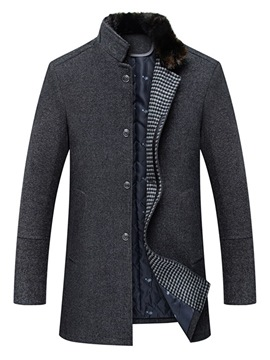 Ericdress Stand Collar Plain Slim Mens Casual Winter Wool Coats