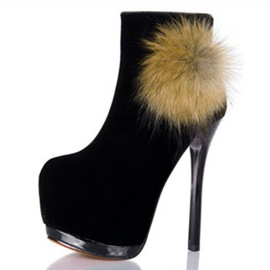 Ericdress Faux Suede Round Toe Side Zipper Stiletto Heel Ankle Boots