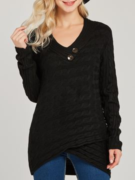 Ericdress Asymmetric Regular V-Neck Slim Sweater