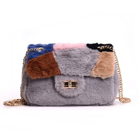 Ericdress Cute Lock Velour Patchwork Chain Crossbody Bags