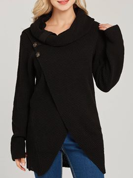 Ericdress Asymmetric Button High Neck Knitwear