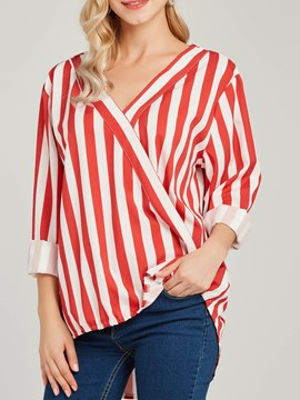 Ericdress V-Neck Loose Stripe Print Long Sleeve Blouse