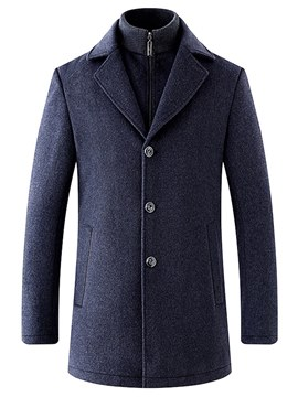Ericdress Plain Removable Lining Lapel Mens Casual Wool Winter Coats