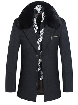 Ericdress Fur Collar Plain Zipper Pocket Mens Casual Winter Wool Coats