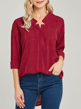 Ericdress Plaid Loose V-Neck Long Sleeves Blouse