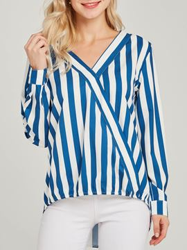 Ericdress Print V-Neck Stripe Long Sleeve Standard Blouse