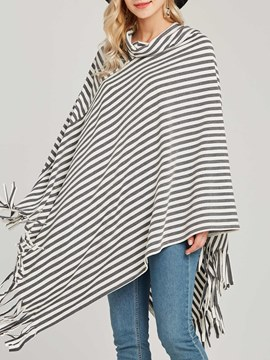 Ericdress Stripe Loose Asymmetric High Neck Knitwear