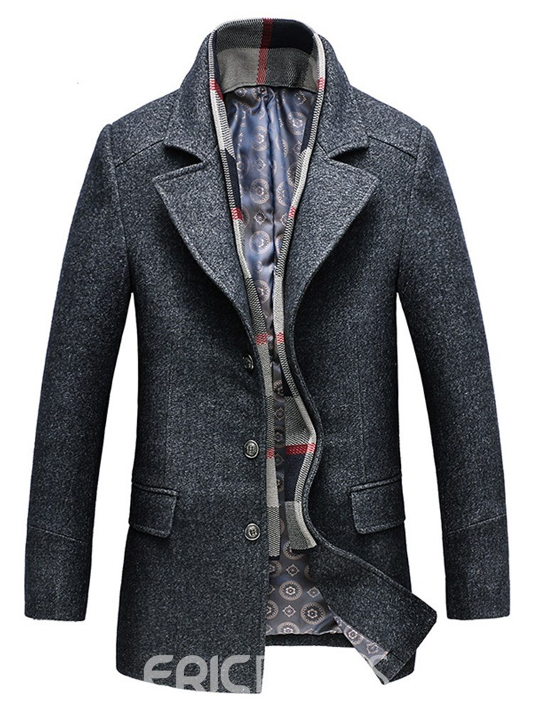 unequal in performance detailed look genuine Ericdress Plain Lapel Mens Mid-Length Winter Wool Coats