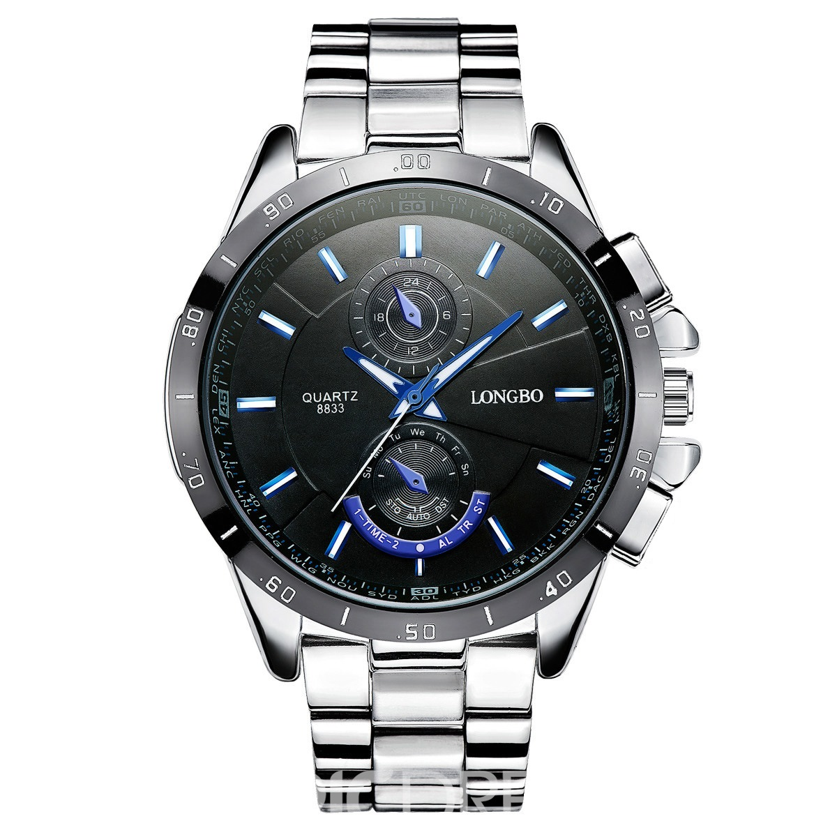 Ericdress Waterproof Steel Band Quartz Watch for Men