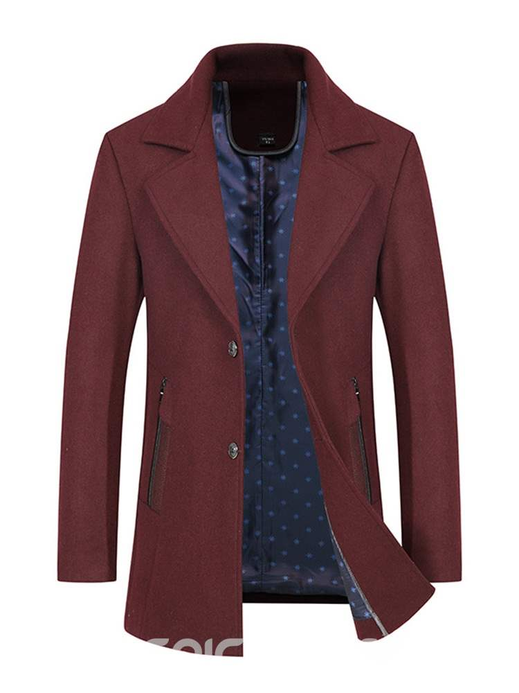 Ericdress Notched Lapel Slim Plain Mens Winter Wool Coats