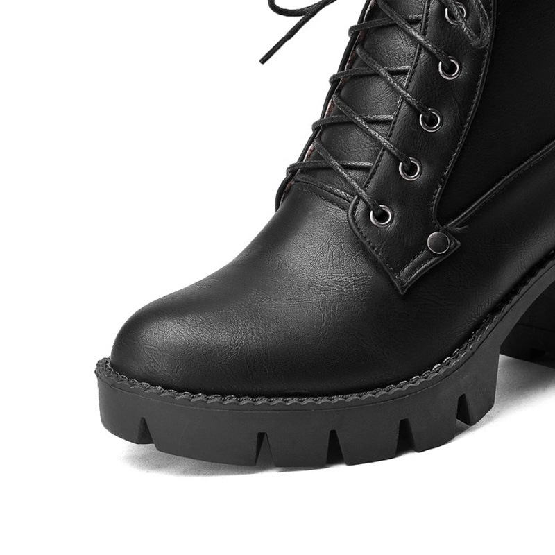 Ericdress Plain Lace-Up Front Chunky Heel Martin Boots