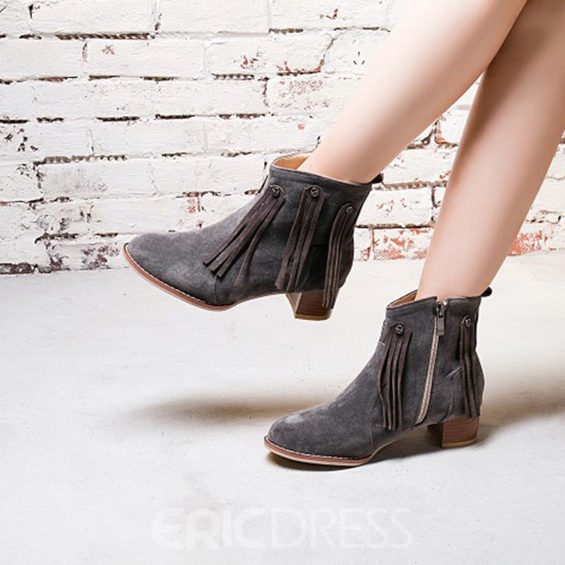 27c02aedec9 ... Ericdress Fringe Round Toe Side Zipper Chunky Heel Ankle Boots ...
