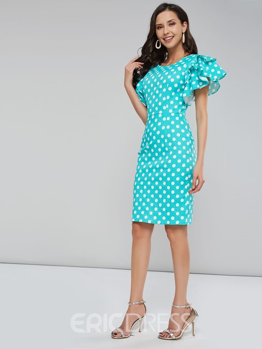 Ericdress Polka Dots Petal Sleeve Knee-Length Bodycon Dress