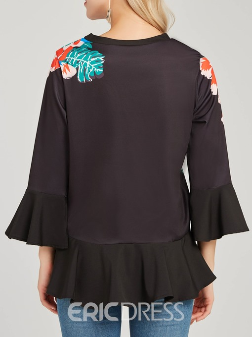 Ericdress Pullover Floral Scoop Casual Long Sleeve Blouse