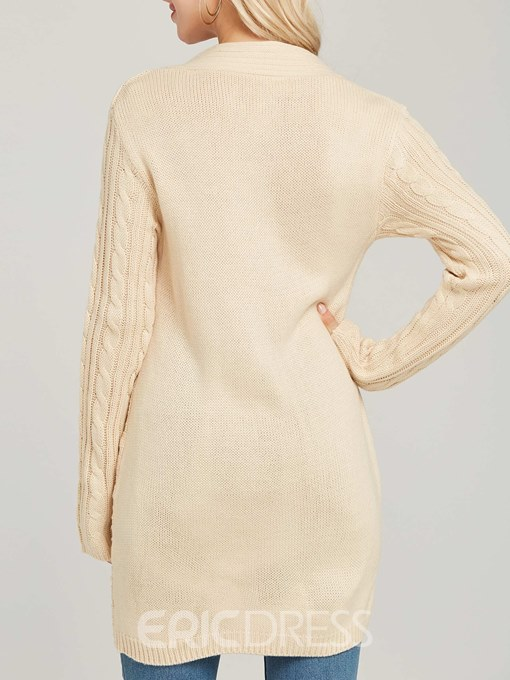 Ericdress V-Neck Button Asymmetric Long Sleeves Knitwear