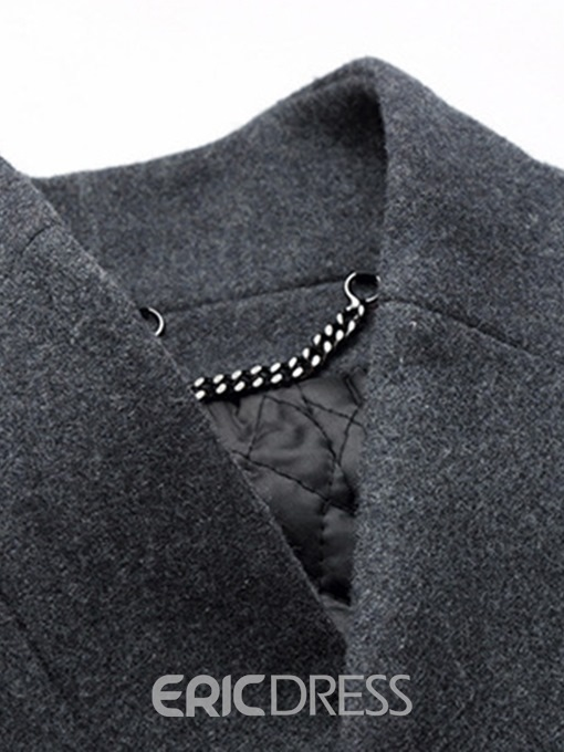 Ericdress Stand Collar Plain Slim Mens Wool Coats