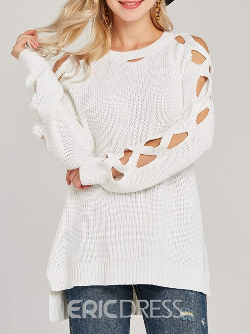 Ericdress Plain Scoop Pullover Thread Knitwear
