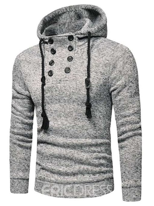Ericdress Plain Lace Up Button Mens Pullover Casual Hoodies