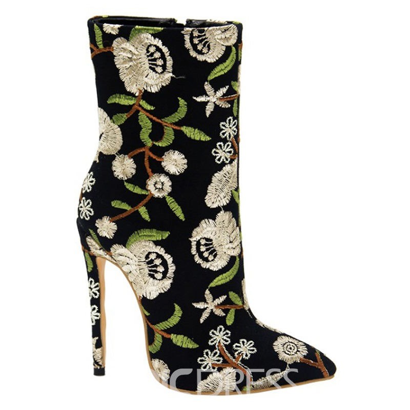 Ericdress Embroidery Pointed Toe Stiletto Heel Women's Boots
