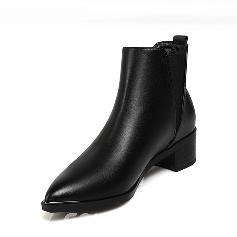 Ericdress Elastic Band Pointed Toe Block Heel Women's Chelsea Boots
