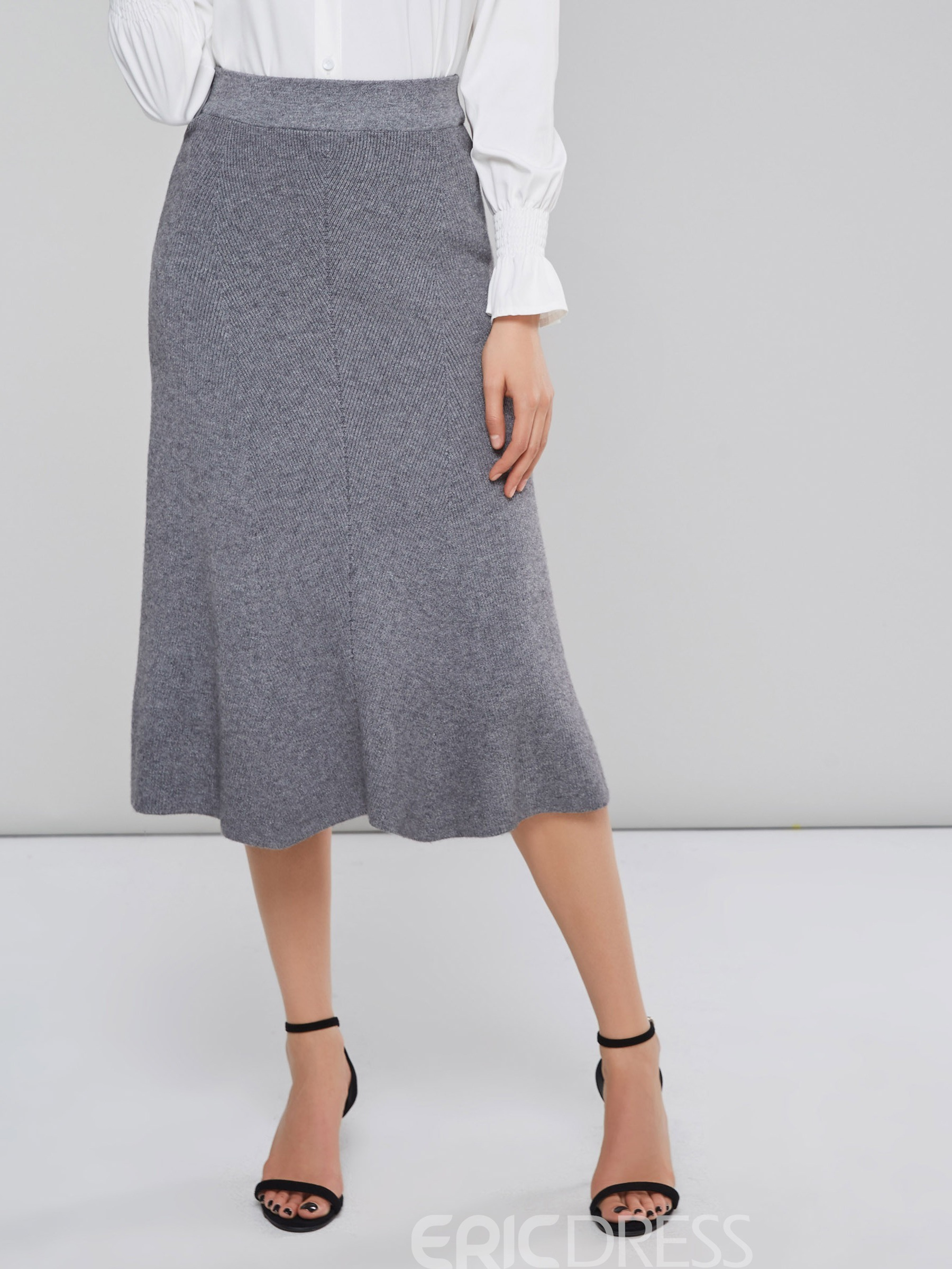 Ericdress Plain Thread Patchwork A-Line Skirt
