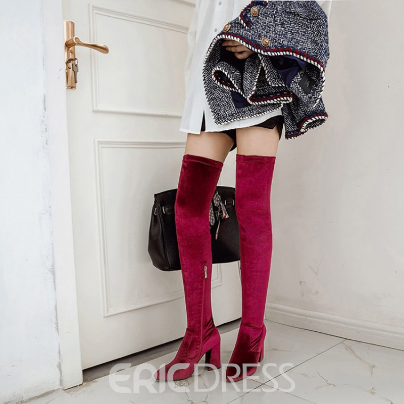 ff0c06712dda ... Ericdress Plain Suede Side Zipper Chunky Heel Over The Knee Boots ...
