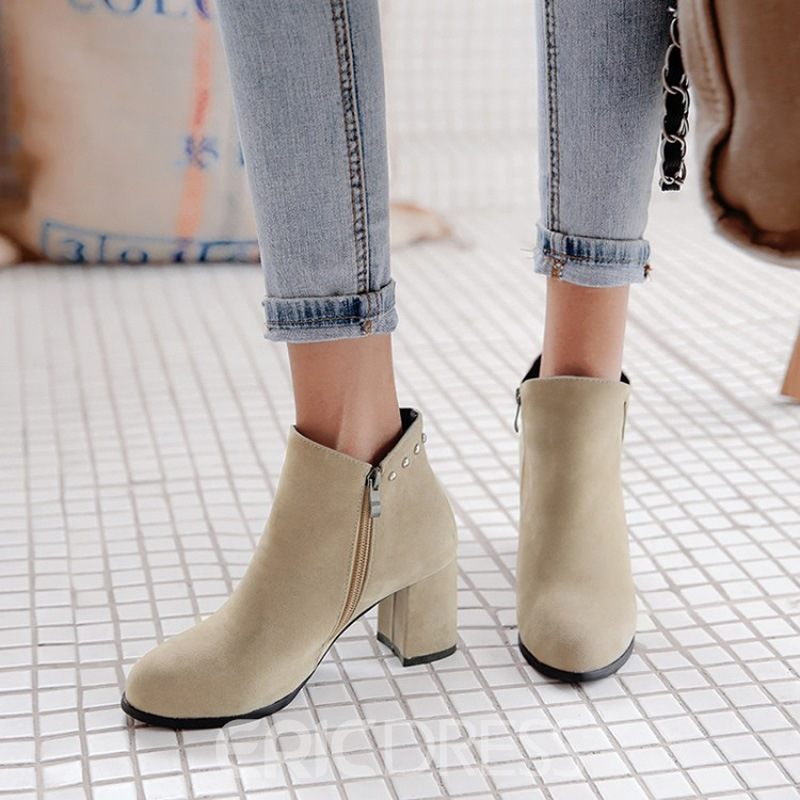 Ericdress Plain Rivet Side Zipper Chunky Heel Ankle Boots