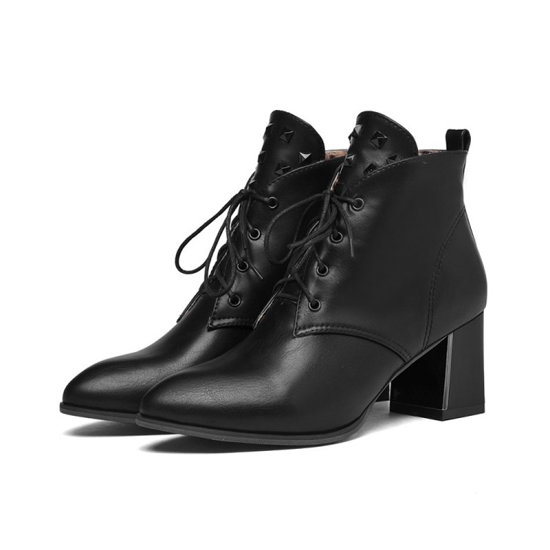 Ericdress Pointed Toe Lace-Up Front Chunk Heel Boots
