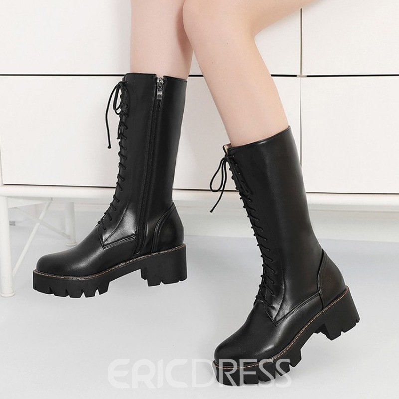 Ericdress Round Toe Side Zipper Chunky Heel Women's Martin Boots