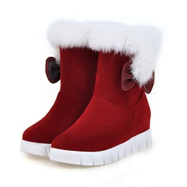 Ericdress Bow Round Toe Hidden Elevator Heel Women's Snow Boots