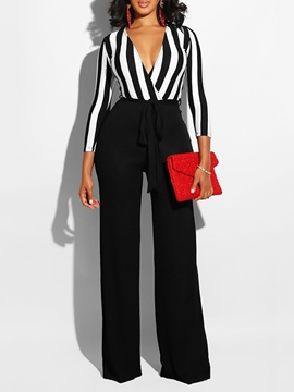 Ericdress Patchwork Striped Color Block Women's Jumpsuits
